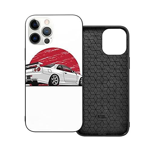 Jinfugongmao Compatible con iPhone 12/11 Pro MAX 12 Mini SE X/XS MAX XR 8 7 6 6s Plus Case Japanese Car and Dragon Dinosaur Art JDM Cars Negro Cajas del Teléfono Cover