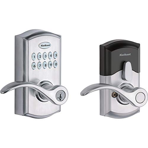 Kwikset SmartCode 955 Keypad Electronic Lever Door Lock Deadbolt Alternative with Pembroke Door Handle Lever Featuring SmartKey Security in Satin Chrome