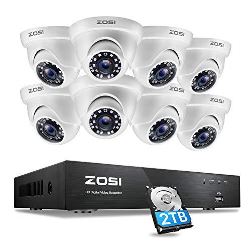 ZOSI 4K 8MP Kit telecamera di sorveglianza per esterni, Disco rigido da 2TB, Visione notturna 20M e impermeabile IP66, app gratuita per accesso remoto