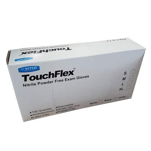 touchflex n318C-40X L libre de polvo desechables guantes de nitrilo, talla XL/10, color blanco (Pack de 100)