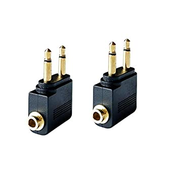 Dual 3.5mm Male to 3.5mm Female Airplane Headphone Adapter Gold Plated  2 Pack