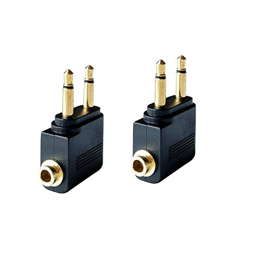 Dual 3.5mm Male to 3.5mm Female Airplane Headphone Adapter Gold Plated (2 Pack)
