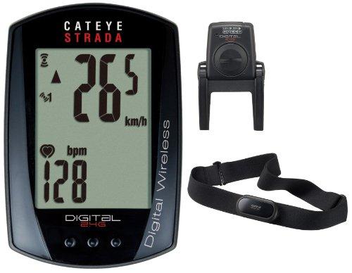 Cateye Strada CC-RD420DW FA003524047 - Computer da Bicicletta, con cardiofrequenzimetro 2,4 GHz, Colore: Nero