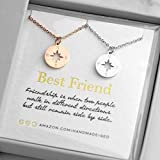 Rose Gold And Silver Compass Necklaces For Women Best Friend Necklaces For Two Best Friend Gifts BFF Necklace For 2