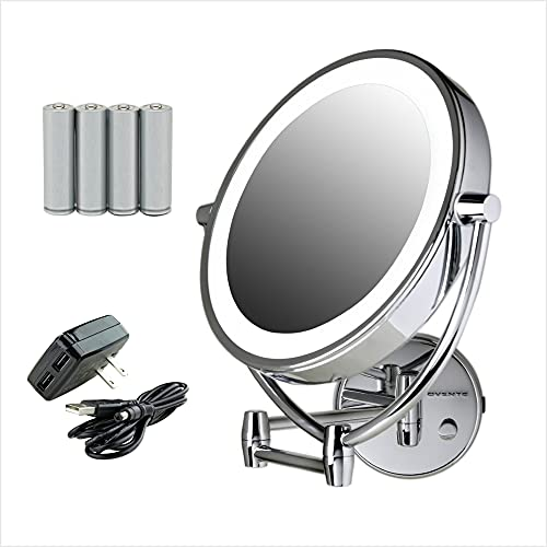Ovente Wall Mount Lighted Makeup Mirror 9.5 Inch 1X 10X Magnifier Circle LED Dimmer Switch 360 Degree Double Sided Acrylic Edge Extendable Swing Battery USB Operated Large Polished Chrome MLW45CH1X10X