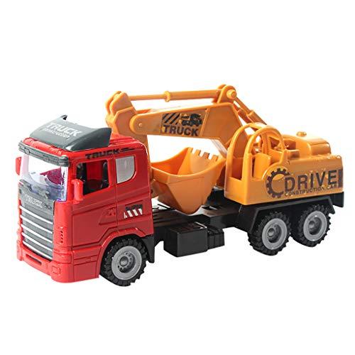 Fulltime(TM) Vehículos de construcción de juguete, juguete de camión volquete con luces y sonido para niños, coches de fricción con motor de empuje y vaya, vehículos de construcción para niños