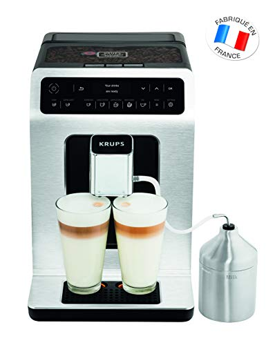 Krups EA891D Evidence Kaffevollautomat, Barista Quattro Force Technologie, 12 Kaffee-Variationen, 3 Tee-Variationen, One-Touch-Cappuccino Funktion metall