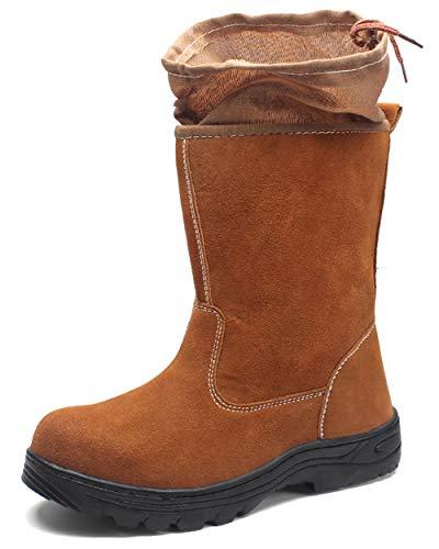 Shoes Botas de Trabajo A Prueba de Polvo, Además de Puntera De Acero de Soldador de Terciopelo, Zapatos de Seguridad Anti-Rotura, Zapatos de Campo Petrolífero