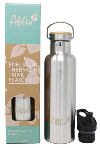 AllEco® Edelstahl Trinkflasche Thermosflasche 750ml Thermo Bottle doppelwandig & auslaufsicher mit Bambus Deckel & EXTRA Sportverschluss | ideal für Camping, Wandern, Kinder, Sport, Fahrrad
