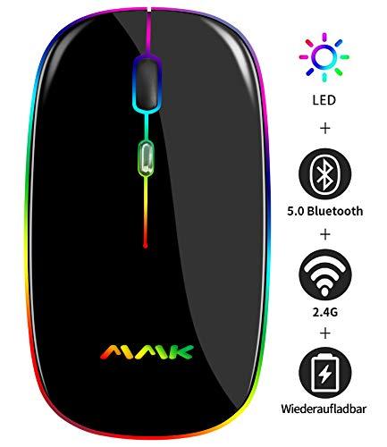 Kabellose Bluetooth Maus,schlanke Maus 2.4G tragbare optische USB-Funkmäuse, wiederaufladbare LED-Dual-Mode-Maus (Bluetooth 5.0 und 2.4G drahtlos) für Laptop, PC, Mac OS, Android, Windows (Schwarz)
