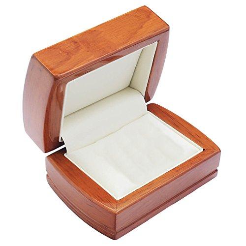 EYS JEWELRY Schmuck-Etui für Trauringe Freundschaftsringe Partnerringe 84 x 75 x 50 mm Holz braun Trauring-Box Ring-Schachtel Schatulle Geschenk-Verpackung