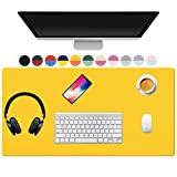 TOWWI Dual Sided Desk Pad, 36' x 17' PU Leather Desk Mat, Waterproof Desk Blotter Protector Mouse Pad (Orange/Yellow)