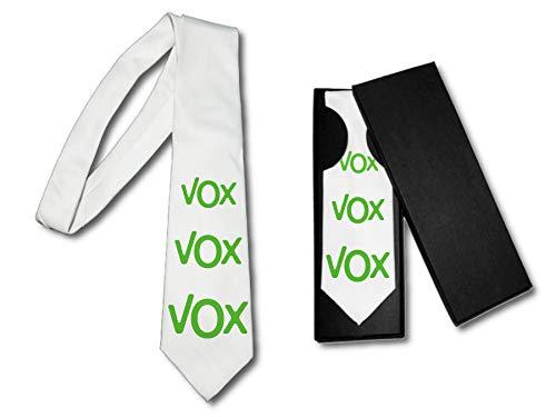 MERCHANDMANIA Elegante Krawatte Logo Politic VOX Soft White