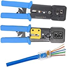 UbiGear All-in-One Crimper for Pass-Through/EZ/Legacy RJ11/RJ12/RJ45 connectors Professional Performance Cutter Stripper CAT3/CAT5e/CAT6 Network Cable UTP/STP Wire Crimping Tool