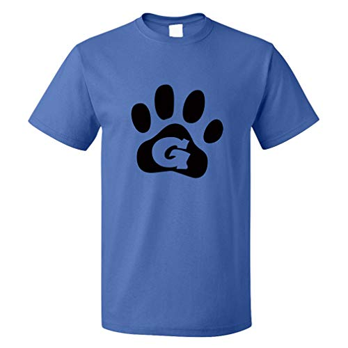Custom Funny Graphic T Shirts for Men G Pet Paws Initial Monogram Letter G Cotton Top Royal Blue Design Only X Large