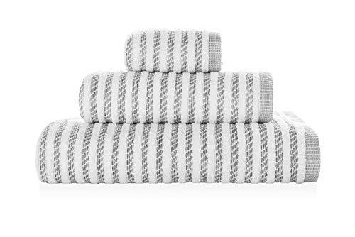 Sorema Serviette de Bain Newyork 70 x 140 cm - Blanc et Gris