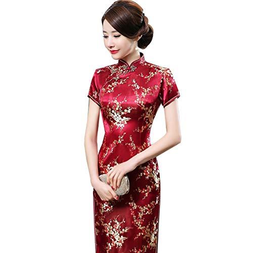 Kalaokei Cheongsam-Kleid, traditionelles Pflaumenblütenkleid, für Damen, chinesisches langes Cheongsam-Abendkleid, Weinrot, Größe 6XL/48