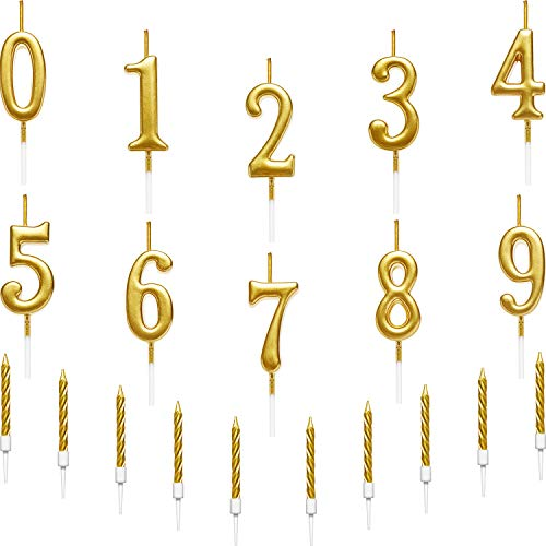 BBTO 10 Pieces Birthday Cake Numeral Candles Number 0-9 Glitter Cake Topper Decoration and 10 Pieces Spiral Cake Candles with Holders for Birthday Wedding Cake Decorations, Total 20 Pieces (Gold)