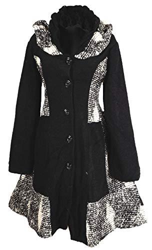 Damen Wolle Lagenlook Patchwork Mantel Swinger 38 40 42 44 46 48 S M L XL XXL Schwarz Übergang Winter (48)