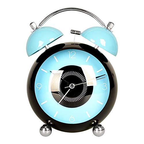 Yxx max -wandklok kleine wekker creatieve studeerende kinderen nachtkastje mechanische klok alarm tabel mute-tafelklok metaal klein tafelklok blauw 3 inch staande klok