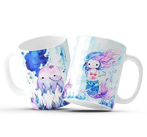 Tasse Meerjungfrau und Oktopus kawaii Tintenfisch Nixe Kaffeetasse Kinder beidseitig bedruckt