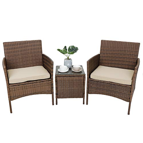 SUPER DEAL 3 Pieces All Weather Patio Conversation Furniture Set Outdoor Wicker Chairs with Table for Garden Backyard Lawn Porch Pool