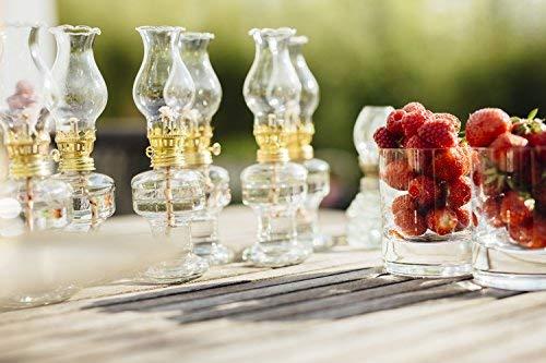 Öllampe aus Glas mit goldener Drehfassung 21 cm | Petroleumlampe mit Baumwolldocht | Perfekt für die Ideale Hochzeit | Oil lamps perfect for the Wedding day