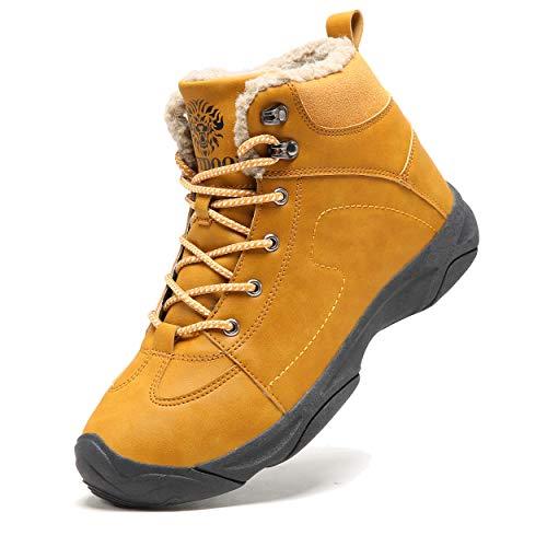 Axcone Homme Femme Chaussures Trekking Randonnée Bottes de Neige Hiver Imperméable Outdoor Boots Fourrure Cuir Imperméable Sneakers, Marron, 44 EU