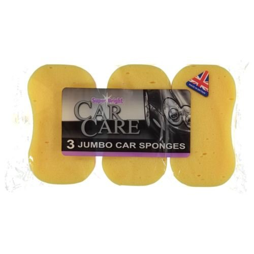 Super Bright: Car Care, Car Wash, Window Cleaning (3 x jumbo car sponges)