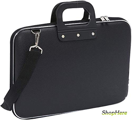 ShopHere Laptop Messenger Handbag Durable Briefcase Carrying Case for 15.6 in Laptops & Notebooks with Shoulder Strap Unisex Hard Shell Durable PU Leather Briefcase Laptop Bag