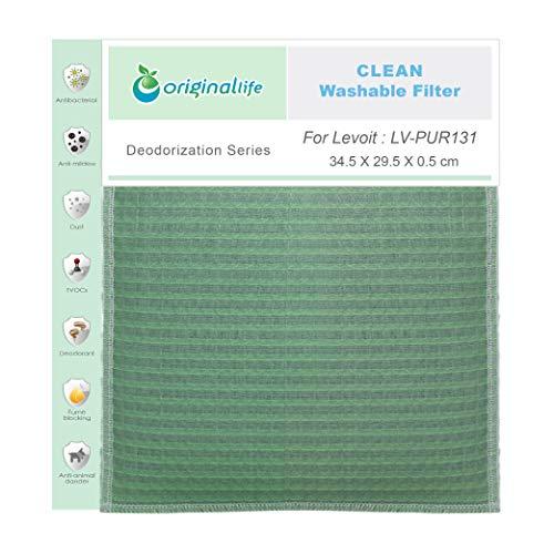 Originallife Filtro purificador de aire Clean para Levoit: LV-PUR131, lavable, reutilizable, antiolores y antialérgenos.