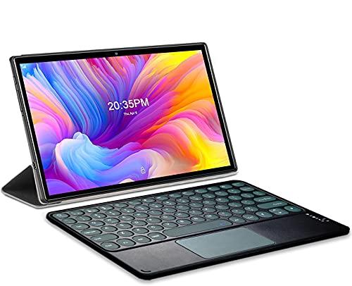 Tablet 10.1 Pulgadas Baratas y Buenas Android 11.0 Octa-Core 2.0 GHz 1920x1200 DUODUOGO A7 6GB RAM 64GB ROM/TF 512GB 4G Dual SIM Tablet con Teclado, Google GMS Type-C 5G WiFi Bluetooth GPS (Gris)