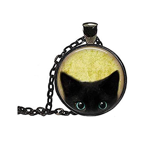 Sunshine Collar de Gato Negro, Collar de Gato Mirando, joyería de Gato, joyería de Halloween, Regalo para Amantes de los Gatos