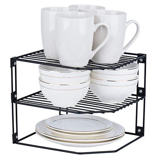 Toplife - Estante para esquina de cocina de 3 niveles, estante organizador para mostrador, despensa y armario, estante de alambre resistente al óxido, color negro, juego de 2