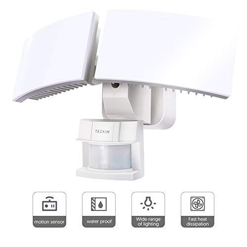 Motion Sensor Light Outdoor, LED Flood Light, Teckin 3000 Lumens, 6000K, IP65 ETL Certified 2 Head Waterproof Night Security Light for Garage, Porch, Yard, Pathway, Patio, Driveway