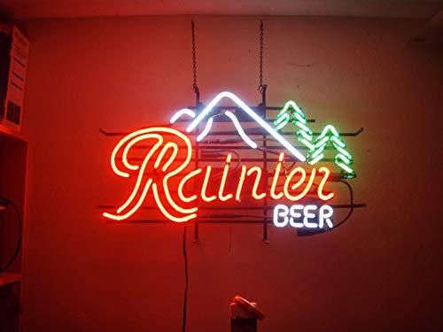 "Queen Sense 17""x14"" Rainier Beer Mountain Jokul Tree Neon Sign (VariousSizes) Beer Bar Pub Man Cave Handmade Glass Lamp Light DB514"