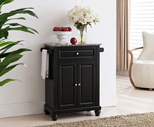 Kings Brand Furniture Kitchen Island Storage Cabinet with Marble Finish Top, Black