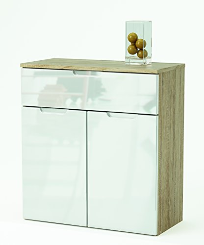 Links - Mountain 8 buffet 2 porte + 1 cassetto. Dim. 73x35,3x79,7h cm. Mdf. Rovere scuro + bianco lucido