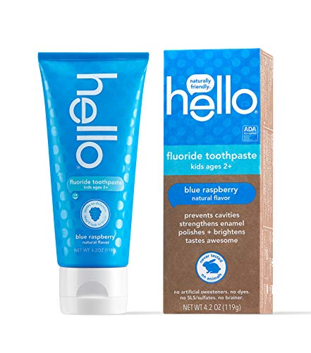 Hello Oral Care ADA Approved SLS Free Kids Fluoride Toothpaste, Blue Raspberry, 4.2 Ounce (Pack of 1)