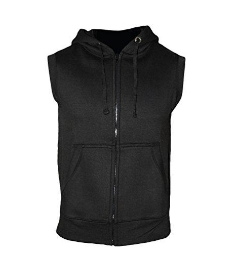ROCK-IT Apparel® Zipped Hoodie ärmellos für Herren Sleeveless Fitness Kapuzenpullover Männer Sweater Trainingsweste Sweatshirt Tank Top S-4XL Farbe Schwarz 3X-Large