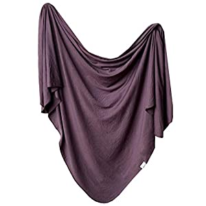 """Large Premium Knit Baby Swaddle Receiving Blanket""""Plum"""" by Copper Pearl"""