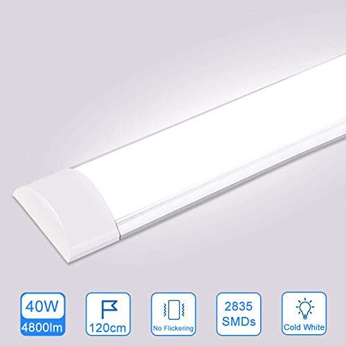 40W LED Deckenleucht Röhre 120CM,LED Feuchtraumleuchte Kaltes Weiß 6500K,4800LM 130°Abstrahlwinkel für Badzimmer Wohnzimmer Küche Garage Lager Werkstatt