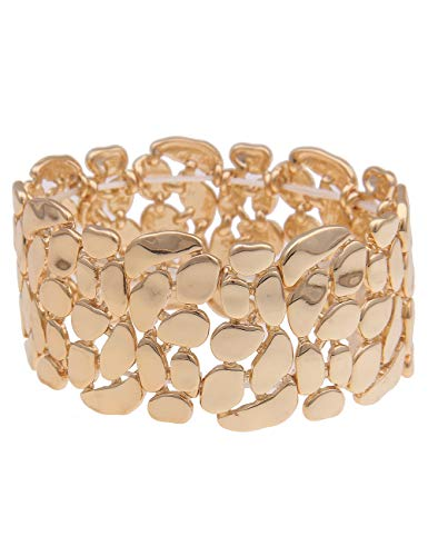Leslii Damen-Armband XXL-Armreif Glanz-Muster Statement-Armband breiter Armreif goldenes Modeschmuck-Armband in Gold