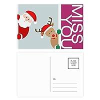 クリスマスのサンタクロースのヘラジカの一瞥 ポストカードセットサンクスカード郵送側20個ミス