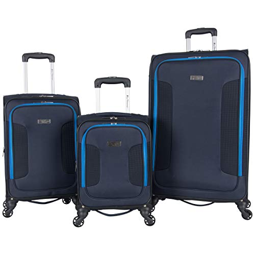 Ben Sherman Houndstooth Hike 3-Piece Lightweight Softside Expandable 4-Wheel Spinner Luggage Set; 20' Carry-on, 24', & 28' Suitcase Set, Navy W/ Blue