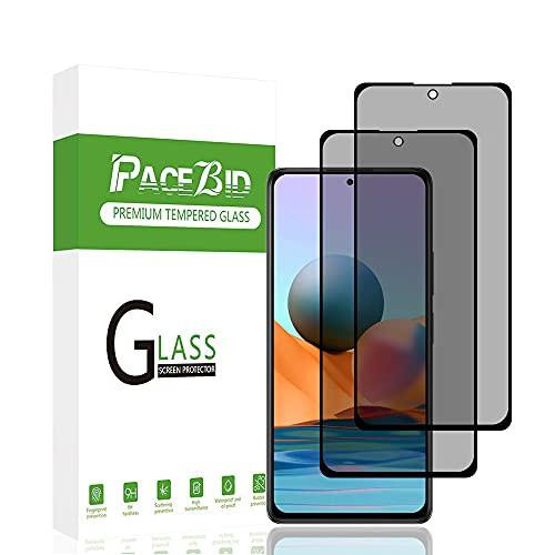 PaceBid 2 Pack Privacy Panzerglas Schutzfolie Kompatibel mit Xiaomi Redmi Note 10 Pro/Note 10 Pro Max, [Full Coverage][Anti-Scratch][Hülle Friendly]9H Festigkeit Blickschutzfolie Anti-Spy Bildschirmschutz