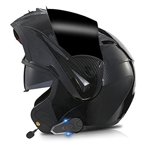 Casco Moto Modular Hombre con Bluetooth,intercomunicador FM MP3 Incorporado Sistema de comunicación para 2-3 Personas Integrado Casco De Moto,Dot/ECE Homologado Casco Moto Integral(Color:C,Size:L=59-
