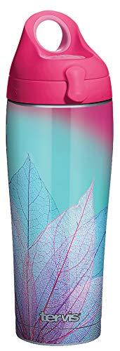 Tervis Turquoise Leaves Vaso aislado, Acero Inoxidable, metalizado