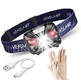 Linternas Frontales LED USB Recargable 1200mAh, Linterna Cabeza 8 Modos Sensor de movimiento, Frontal LED Impermeable IPX4 300LM 6000K, Adecuados para Correr, Acampar, Montañismo, Carrera, Ciclismo