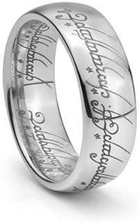 Plain Elvish Script Tungsten Carbide Men & Women Laser-etched Wedding Band Ring - Size 4-15.5- 7mm